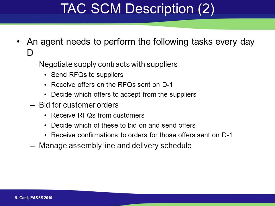 TAC SCM Description (2) An agent needs to perform the following tasks every day D. Negotiate supply contracts with suppliers.
