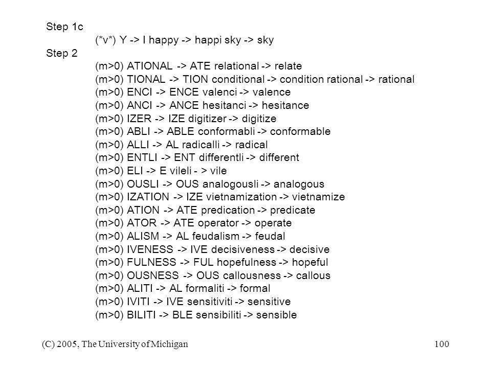 (*v*) Y -> I happy -> happi sky -> sky Step 2