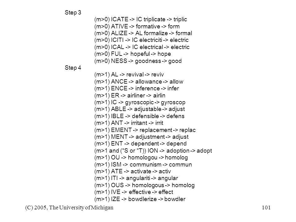 Step 3 (m>0) ICATE -> IC triplicate -> triplic. (m>0) ATIVE -> formative -> form. (m>0) ALIZE -> AL formalize -> formal.