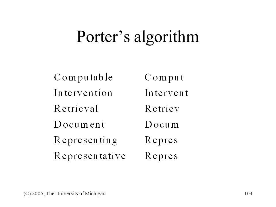 Porter's algorithm (C) 2005, The University of Michigan