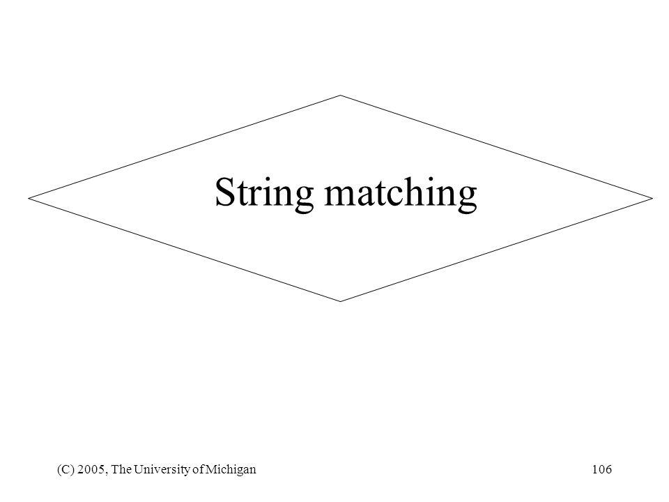 String matching (C) 2005, The University of Michigan