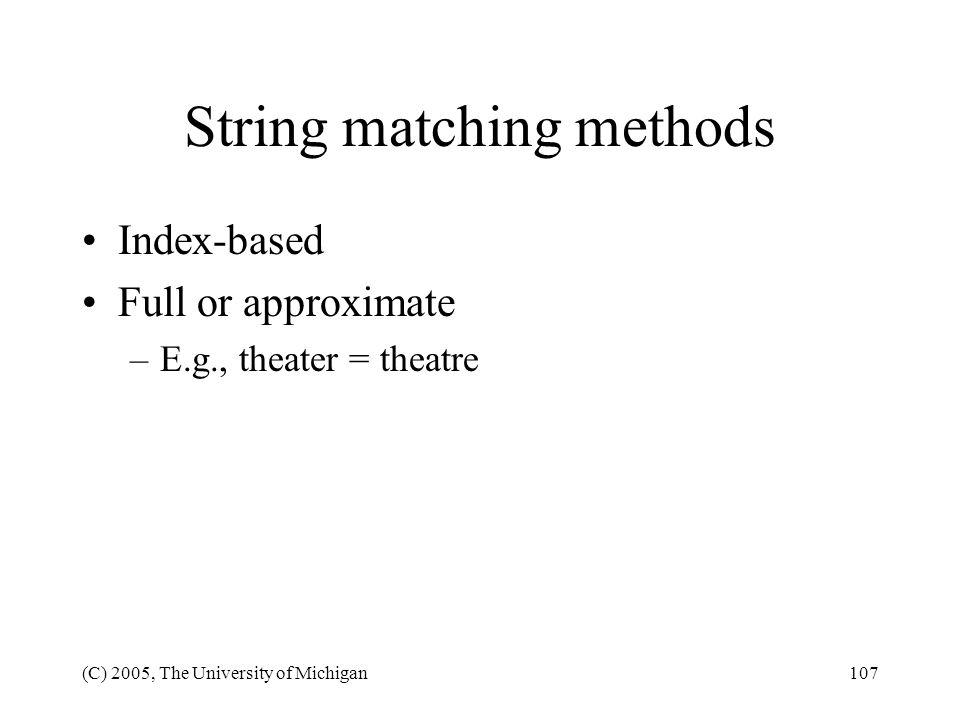 String matching methods