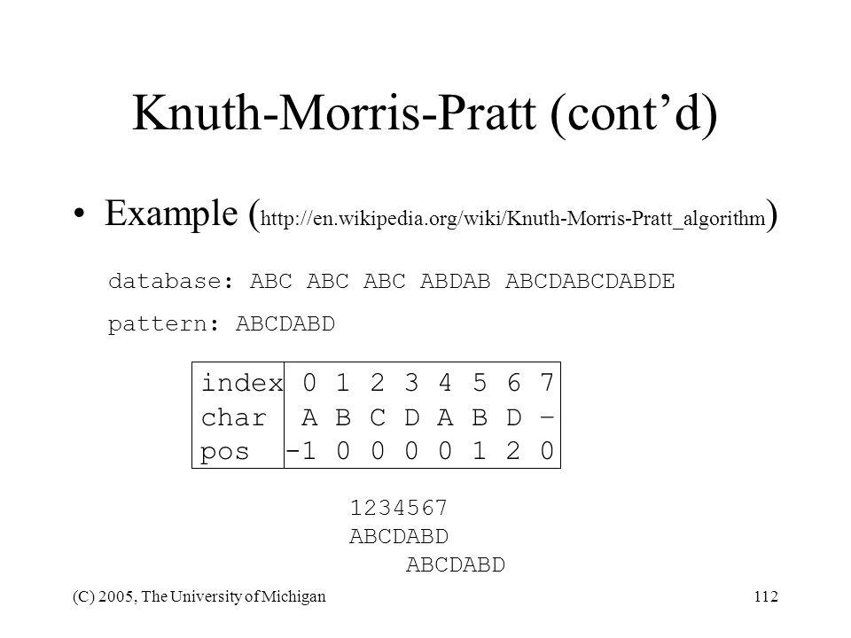Knuth-Morris-Pratt (cont'd)