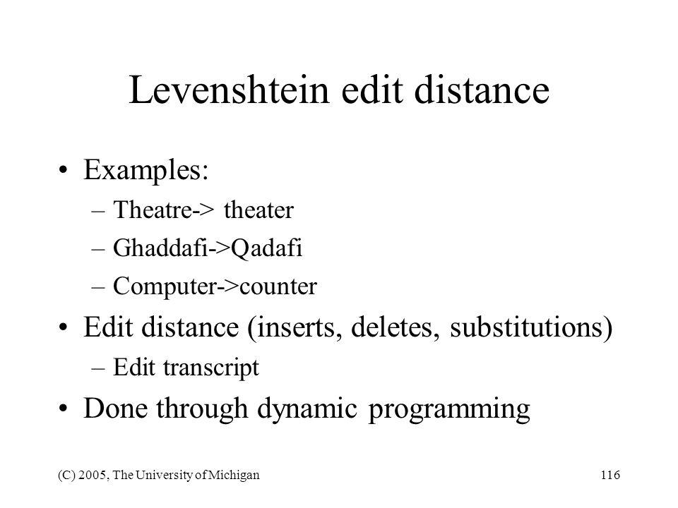Levenshtein edit distance
