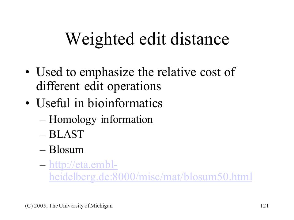 Weighted edit distance