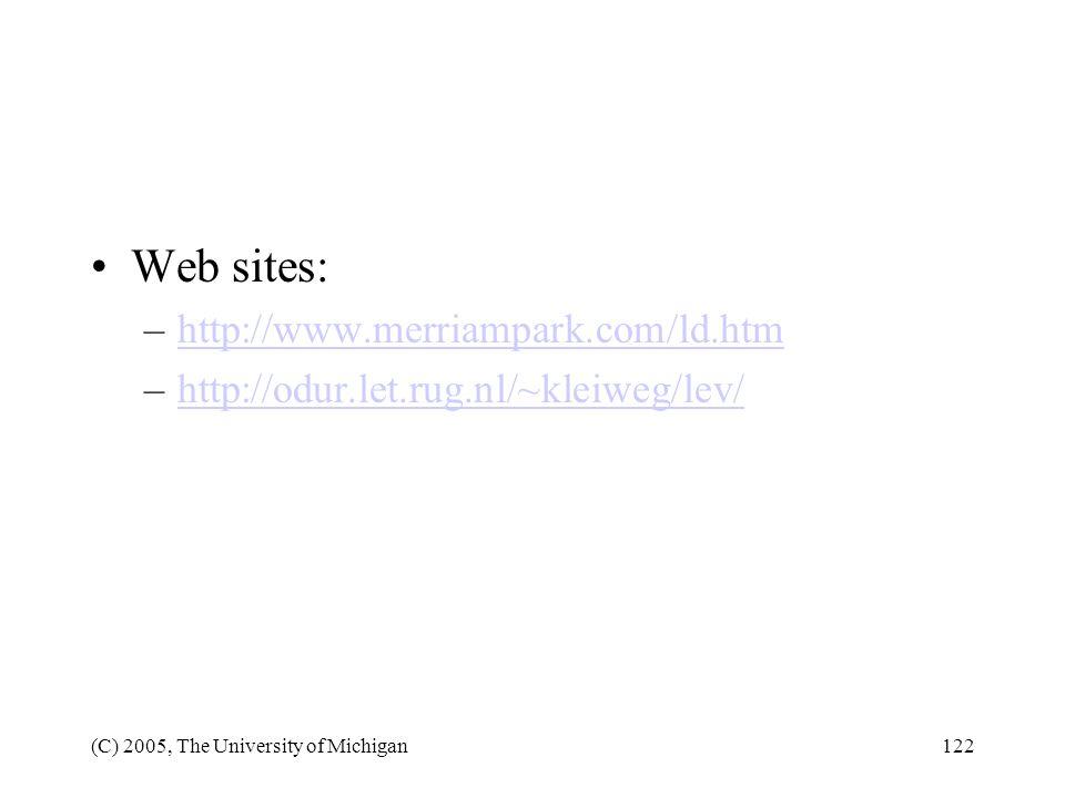 Web sites: http://www.merriampark.com/ld.htm