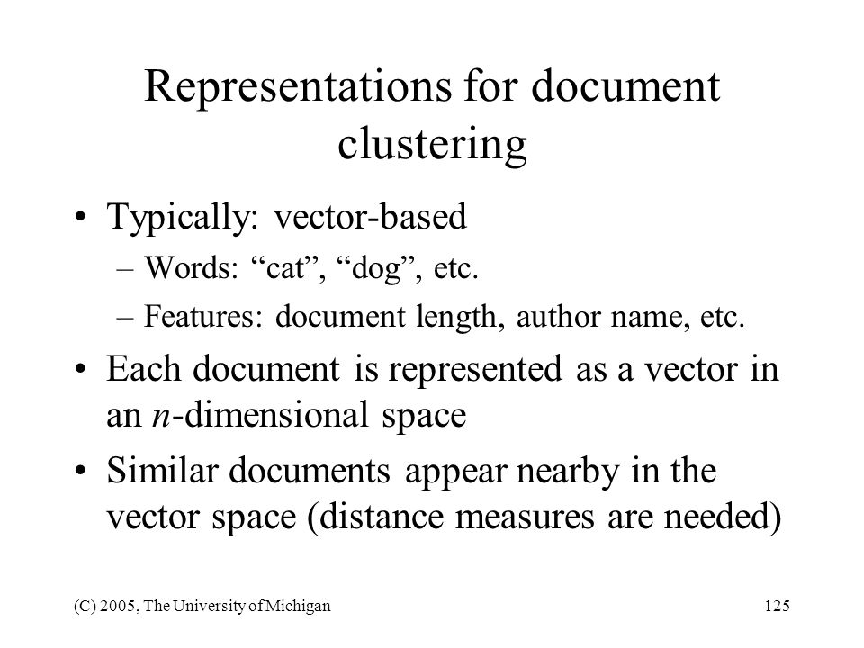 Representations for document clustering