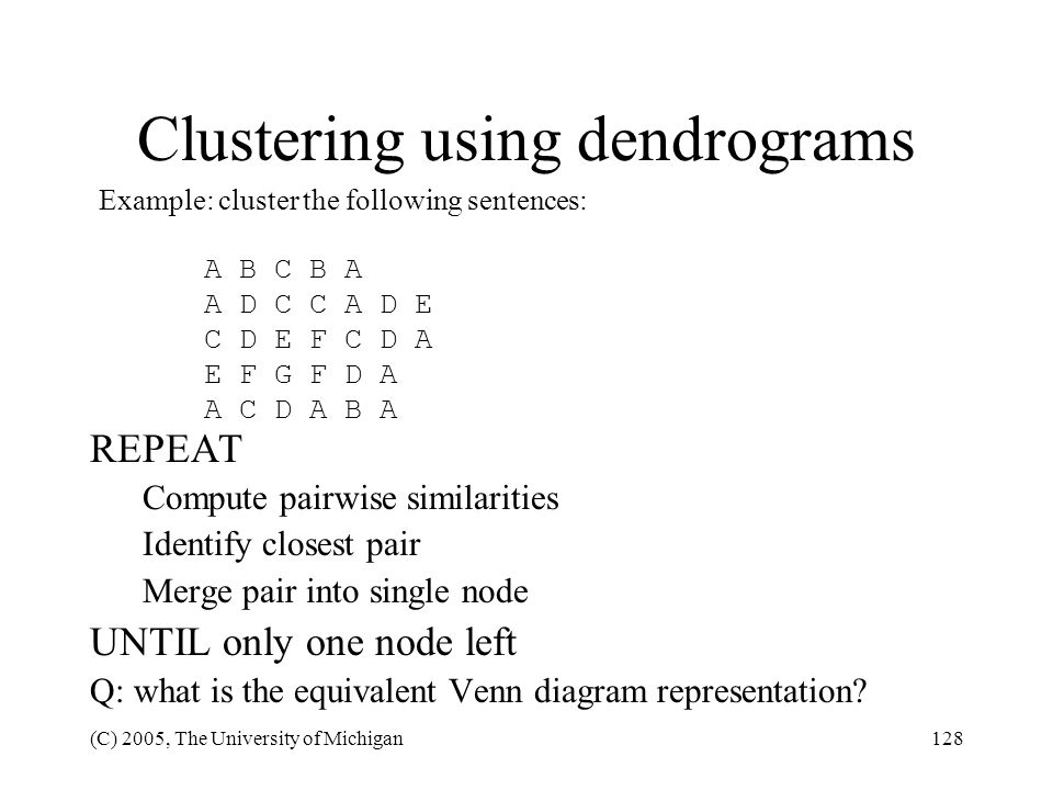 Clustering using dendrograms