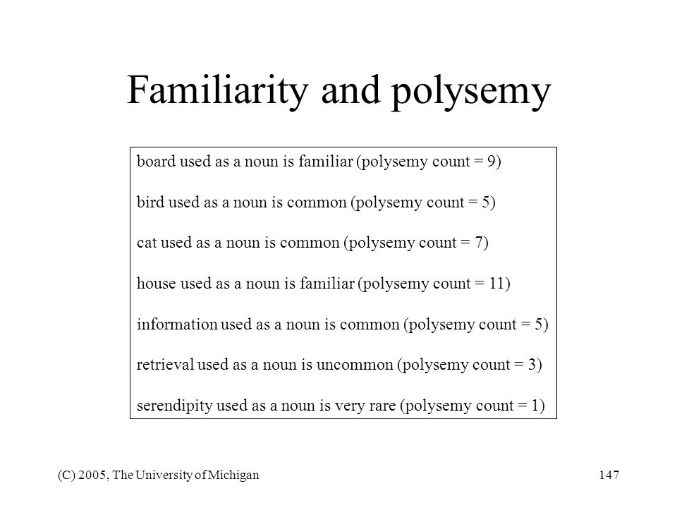 Familiarity and polysemy