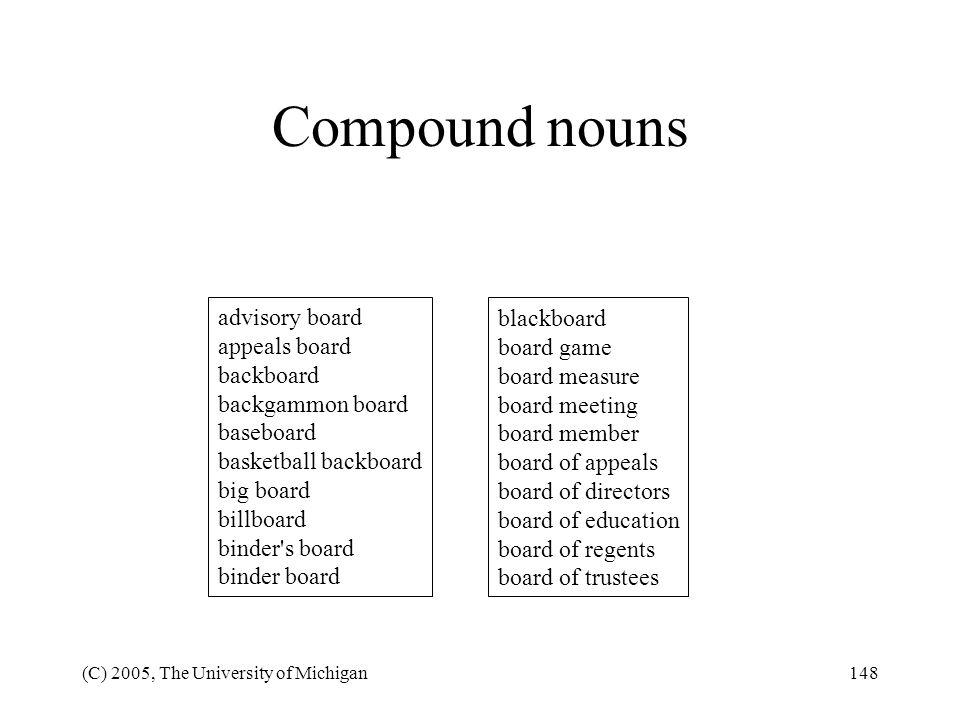 Compound nouns advisory board appeals board backboard backgammon board