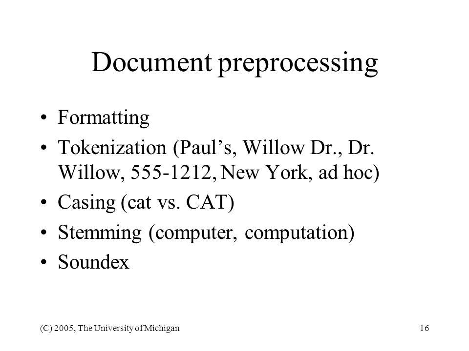 Document preprocessing