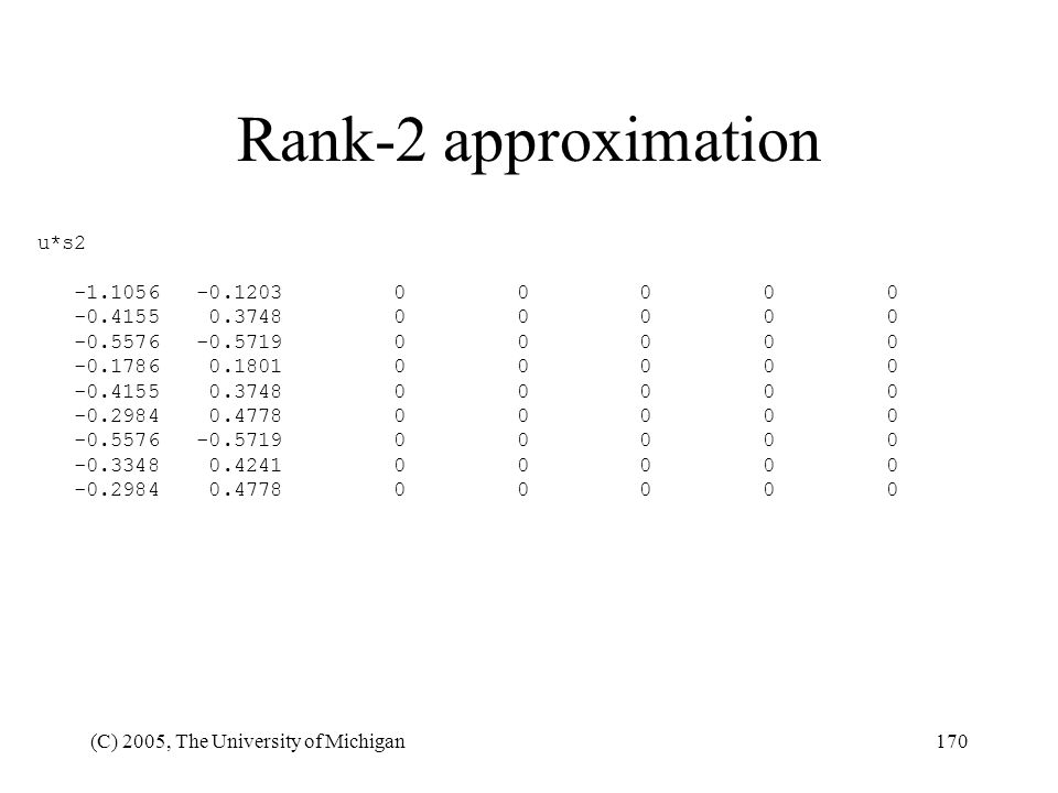 Rank-2 approximation u*s2 -1.1056 -0.1203 0 0 0 0 0