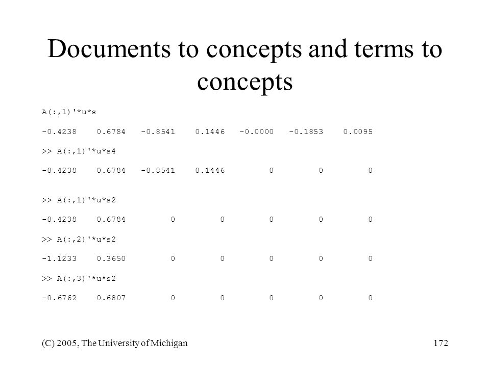 Documents to concepts and terms to concepts