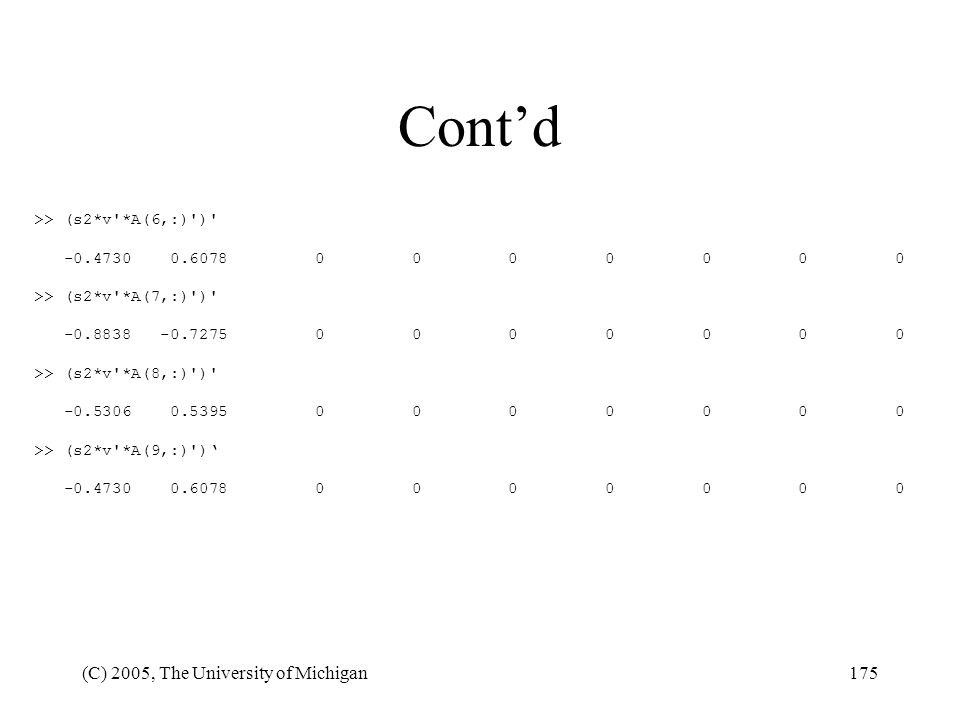 Cont'd (C) 2005, The University of Michigan >> (s2*v *A(6,:) )