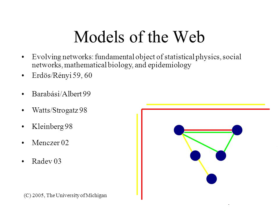 Models of the Web Evolving networks: fundamental object of statistical physics, social networks, mathematical biology, and epidemiology.