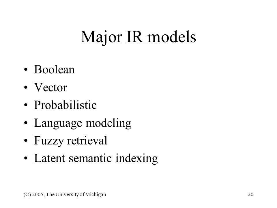 Major IR models Boolean Vector Probabilistic Language modeling
