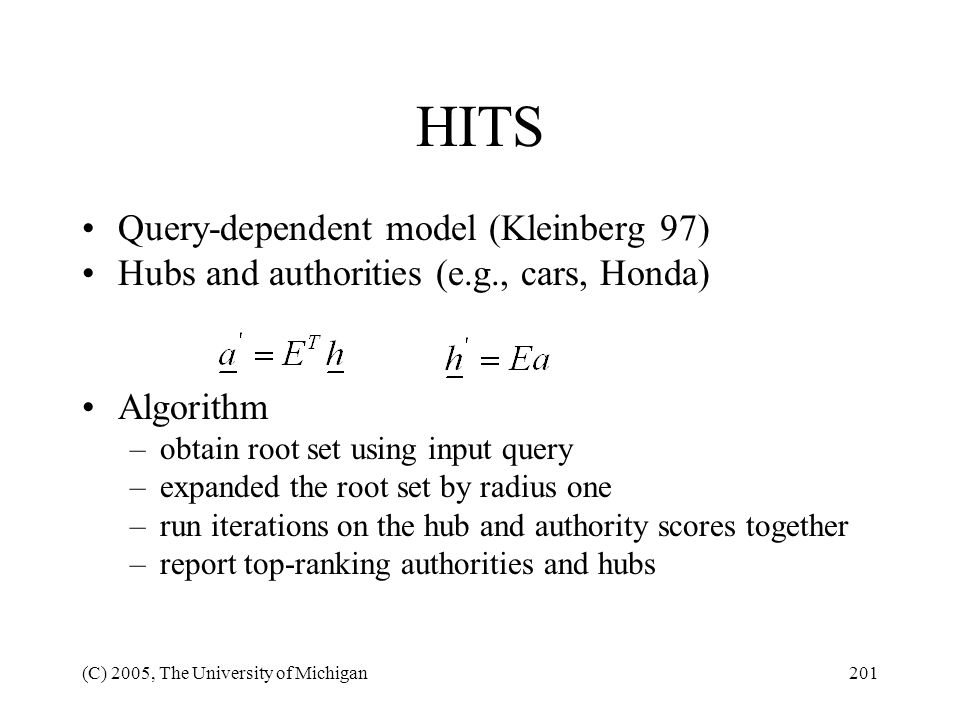 HITS Query-dependent model (Kleinberg 97)