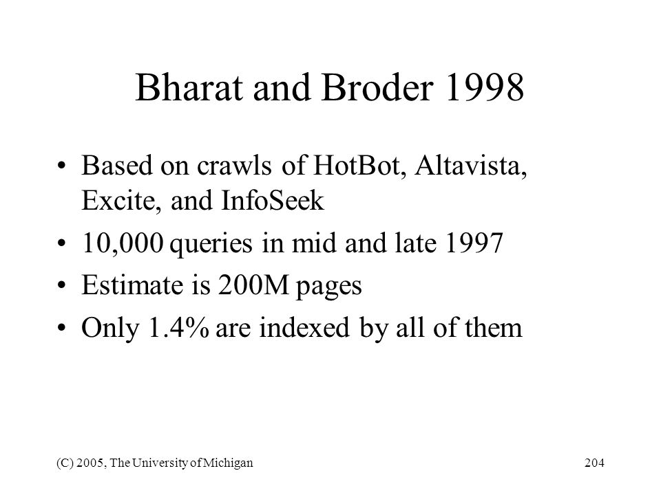 Bharat and Broder 1998 Based on crawls of HotBot, Altavista, Excite, and InfoSeek. 10,000 queries in mid and late 1997.