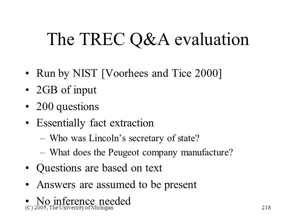 The TREC Q&A evaluation