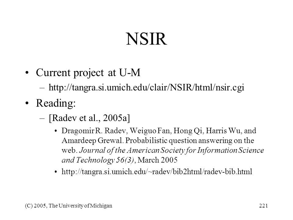 NSIR Current project at U-M Reading: