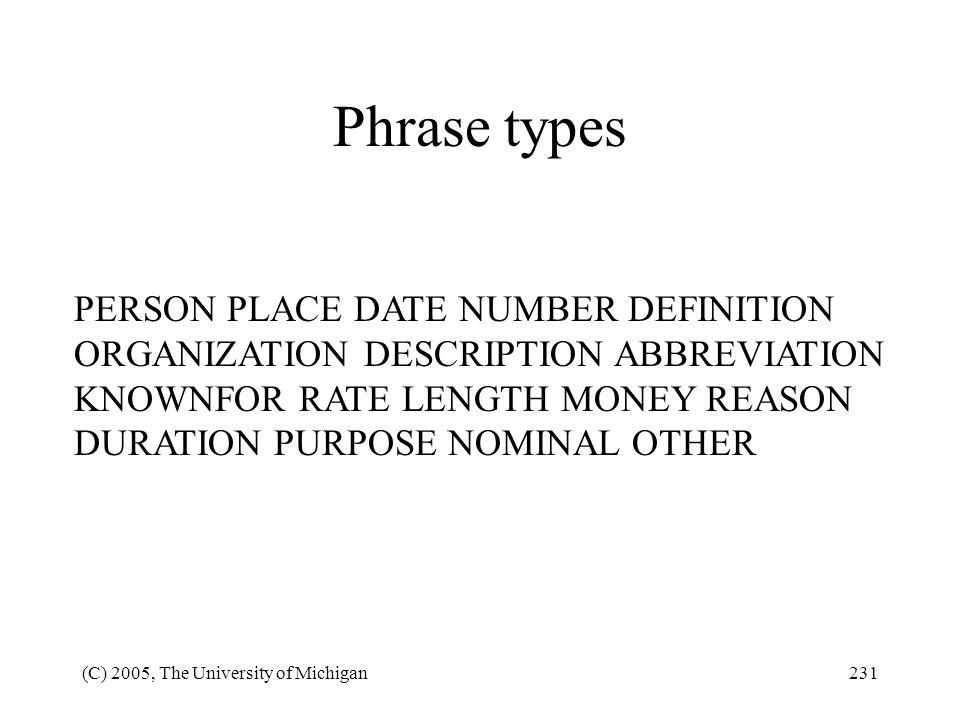 Phrase types