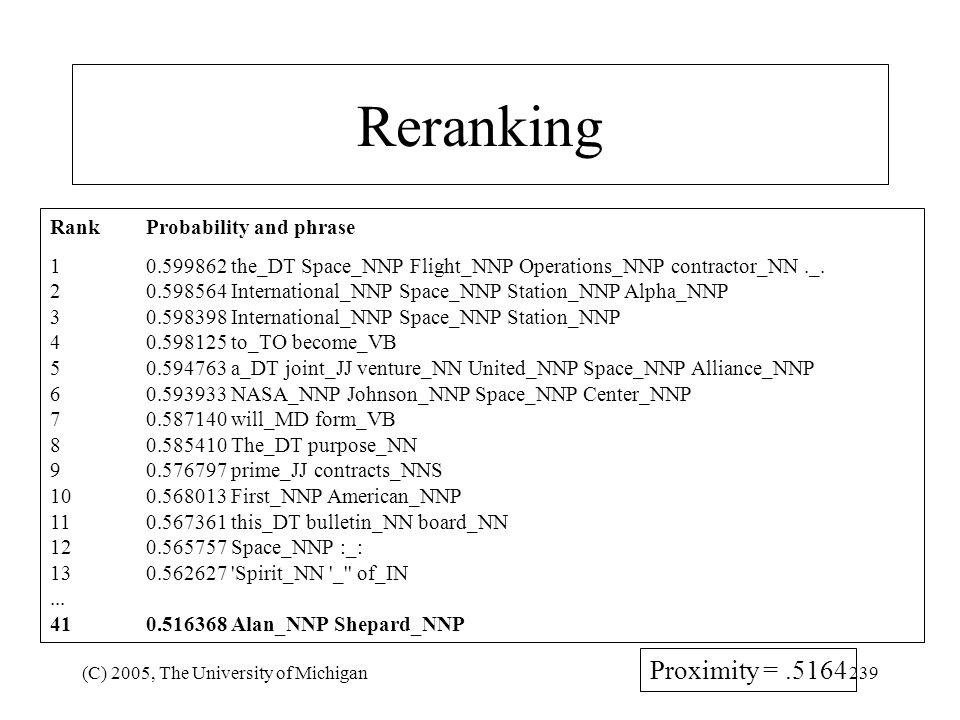 Reranking Proximity = .5164 Rank Probability and phrase