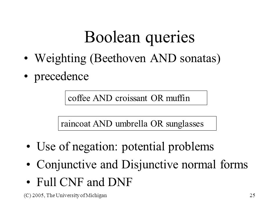 Boolean queries Weighting (Beethoven AND sonatas) precedence