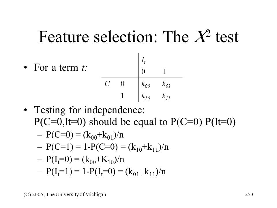 Feature selection: The 2 test