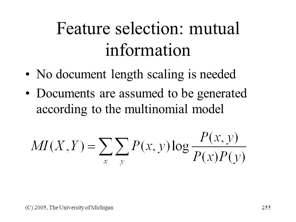 Feature selection: mutual information