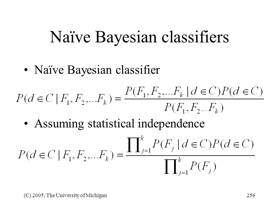 Naïve Bayesian classifiers