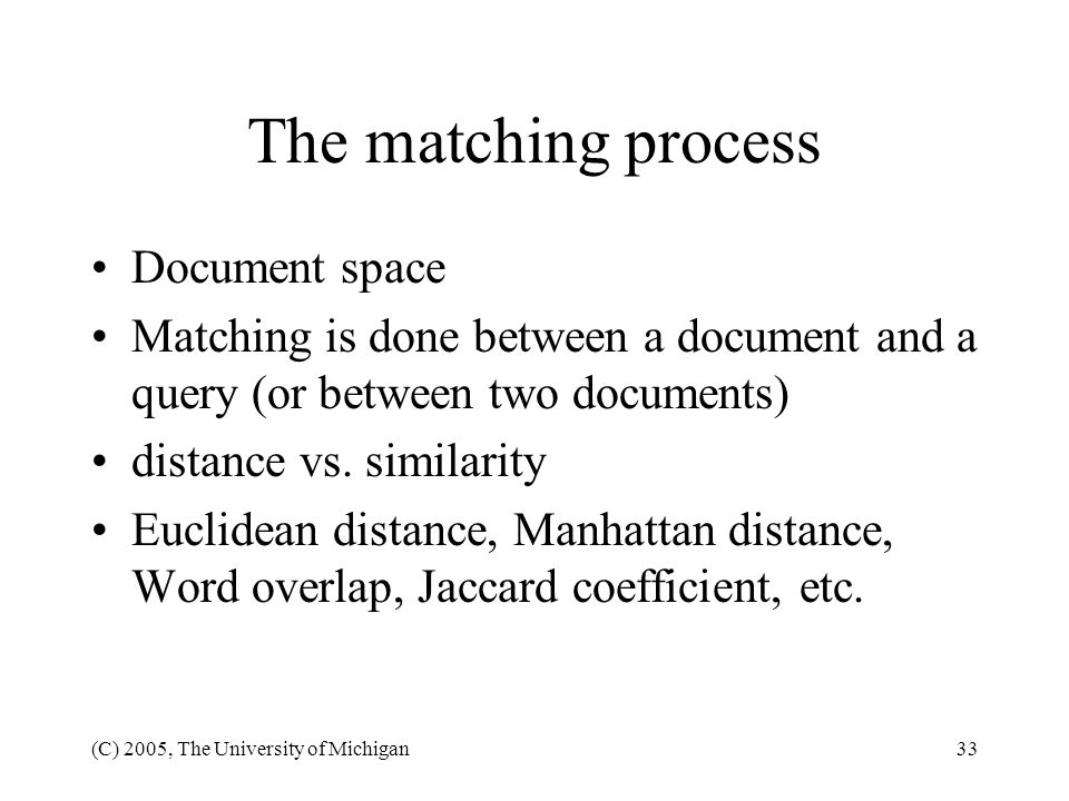 The matching process Document space