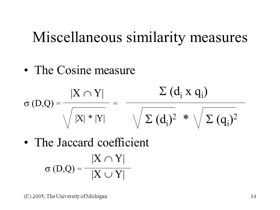 Miscellaneous similarity measures