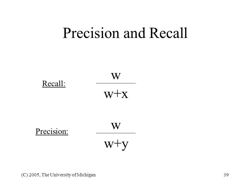 Precision and Recall w w+x w w+y Recall: Precision: