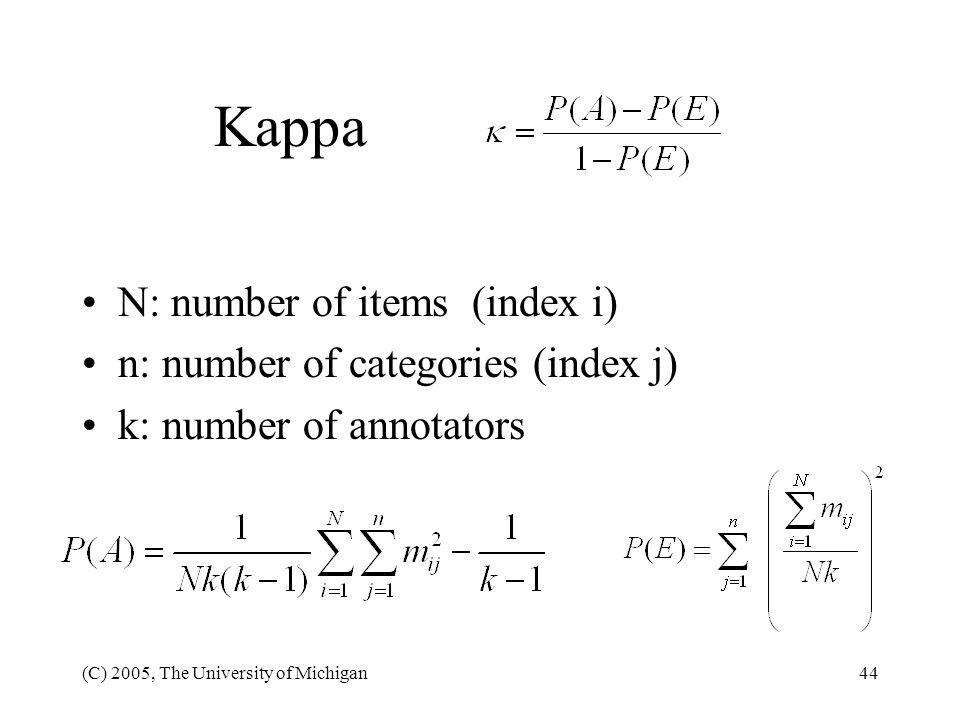 Kappa N: number of items (index i) n: number of categories (index j)