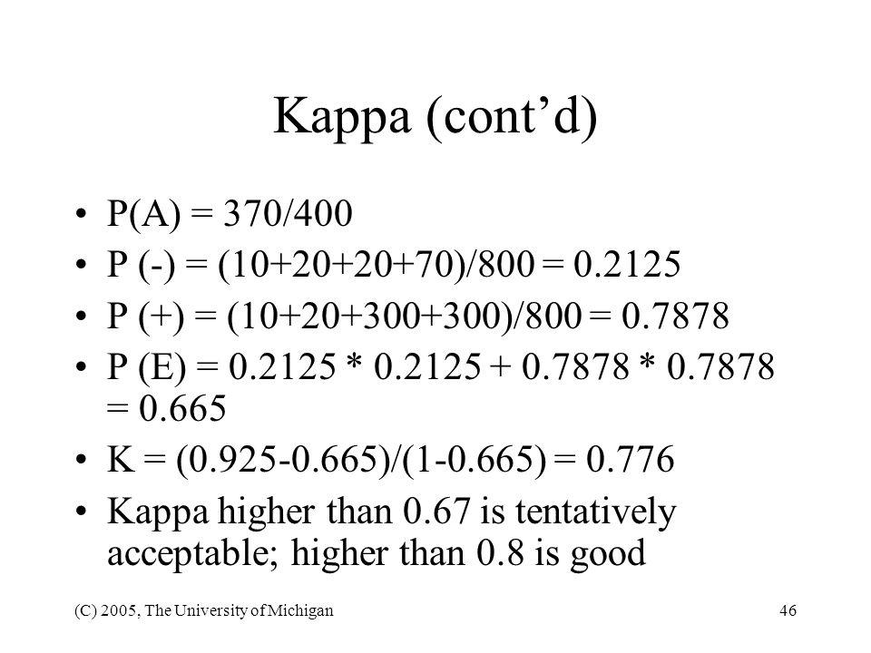 Kappa (cont'd) P(A) = 370/400 P (-) = (10+20+20+70)/800 = 0.2125