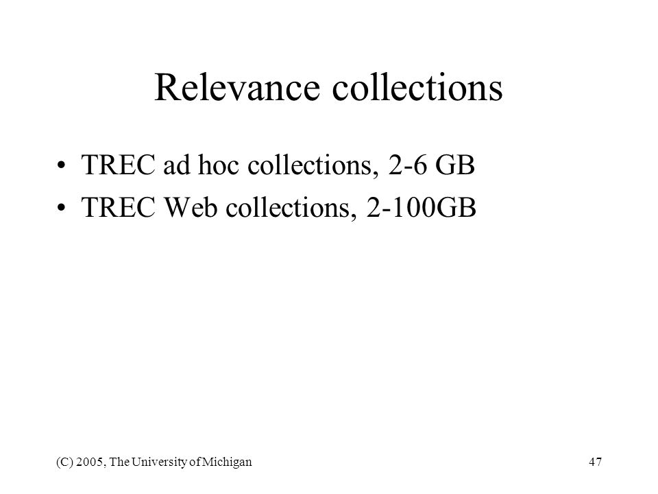 Relevance collections
