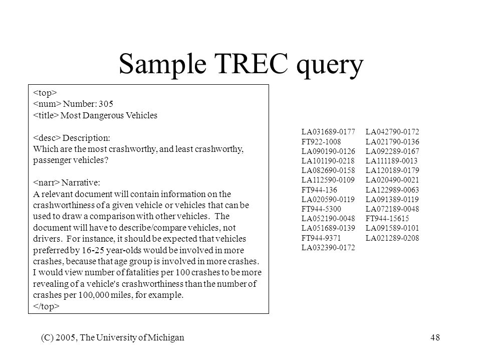 Sample TREC query <top> <num> Number: 305