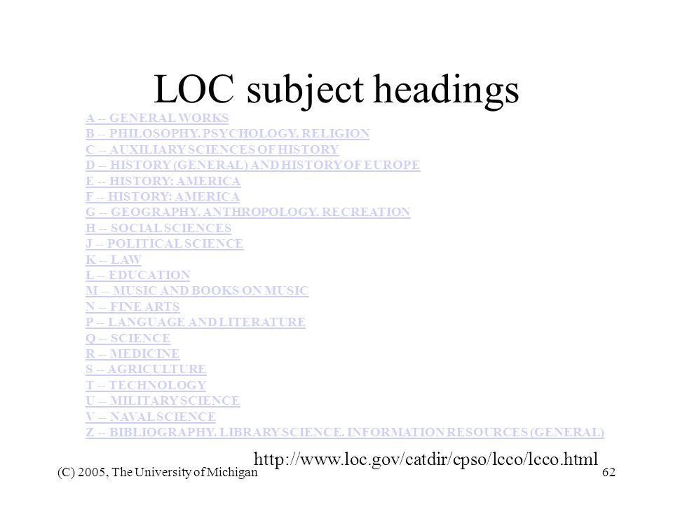 LOC subject headings http://www.loc.gov/catdir/cpso/lcco/lcco.html