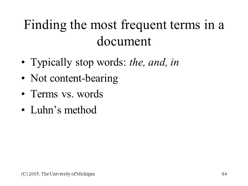 Finding the most frequent terms in a document