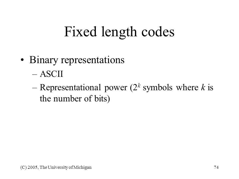 Fixed length codes Binary representations ASCII