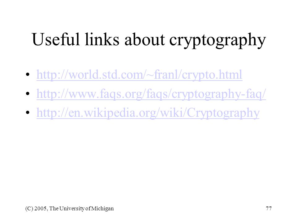Useful links about cryptography