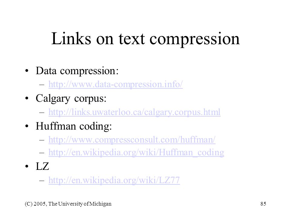 Links on text compression