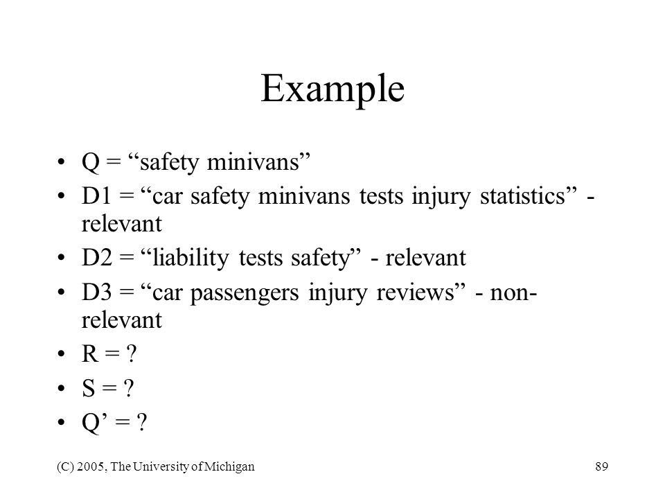 Example Q = safety minivans