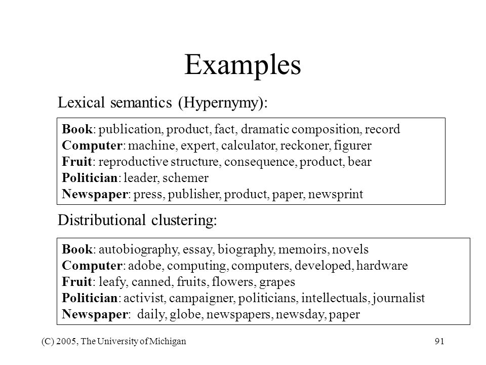 Examples Lexical semantics (Hypernymy): Distributional clustering: