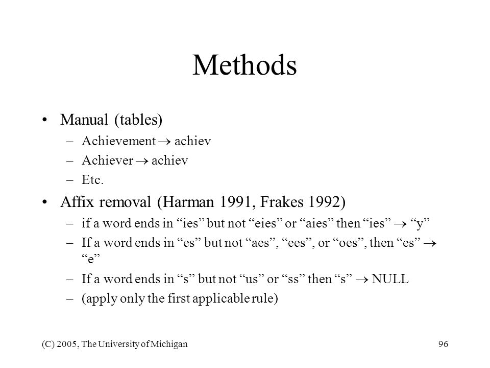 Methods Manual (tables) Affix removal (Harman 1991, Frakes 1992)
