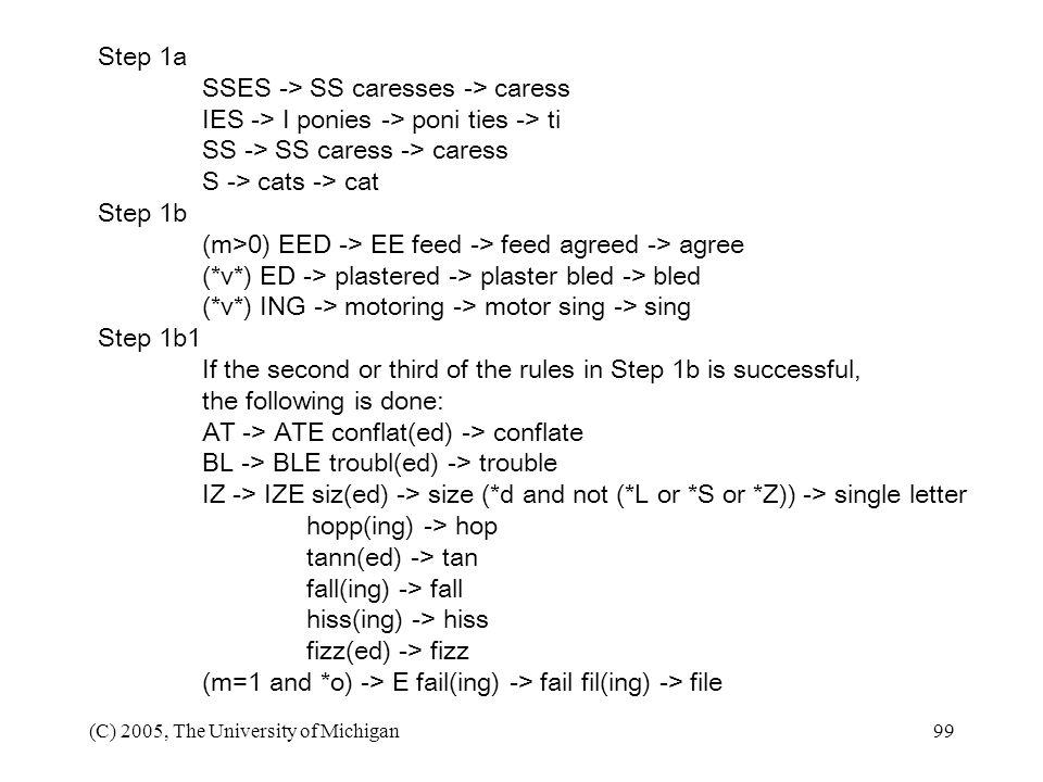 SSES -> SS caresses -> caress