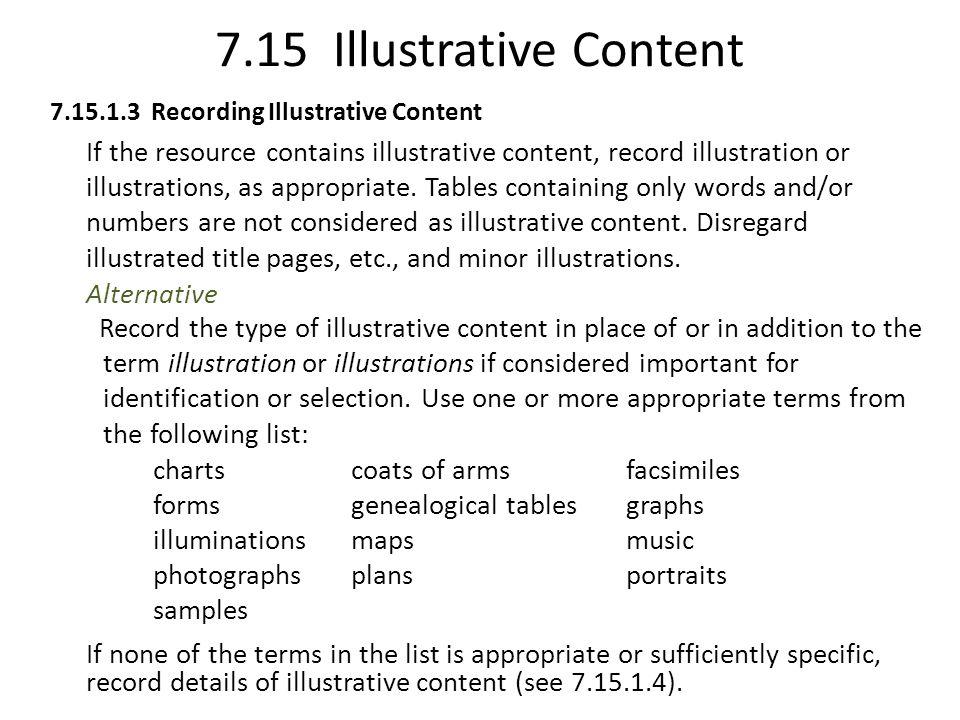 7.15 Illustrative Content Alternative