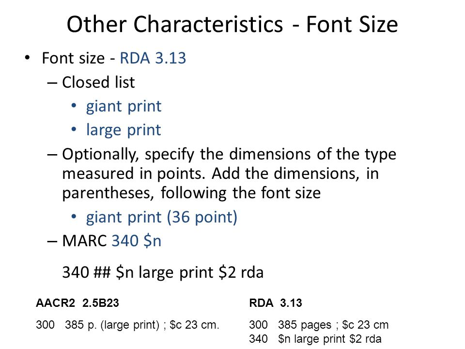 Other Characteristics - Font Size