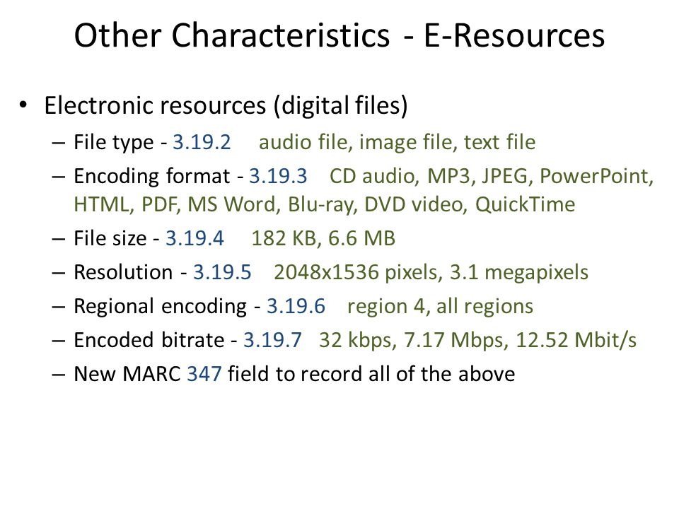 Other Characteristics - E-Resources