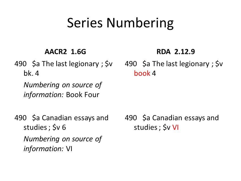 Series Numbering AACR2 1.6G RDA 2.12.9